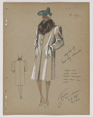 Coat with Brown Fur Collar and Green Hat, Cloves and Scarf