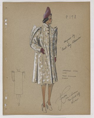 Coat with High Points on Shoulder, with Purple Hat and Gloves