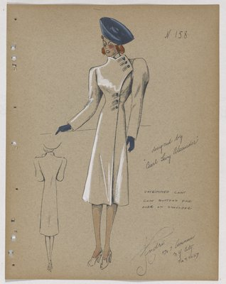 Coat with Three Buttons on Shoulder and Waist, with Blue Hat