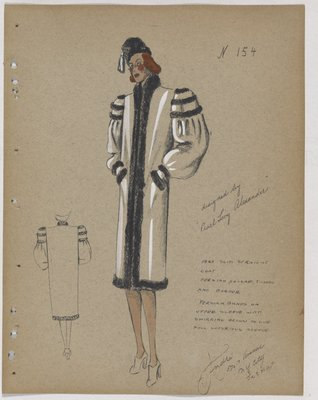 Coat with Three Fur Strips Across Shoulder and Shirring at Upper Sleeve