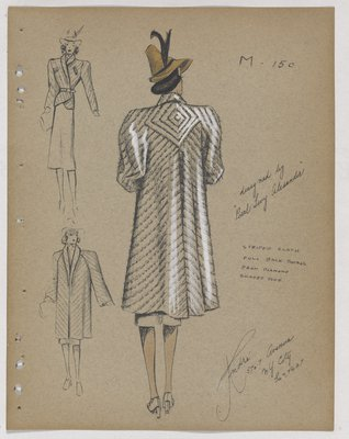 Striped Coat with Diamond Shaded Yoke at Back