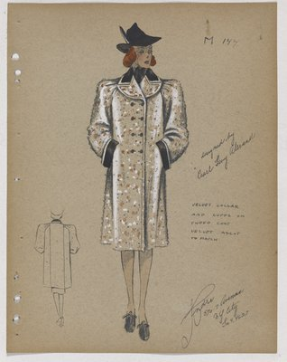 Coat with Orange and White Dots, with Black Velvet Collar and Cuff