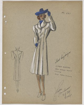 Coat with Slot Seam Pockets and Blue Hat, Scarf and Gloves