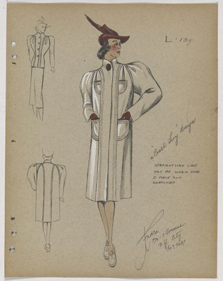Coat with Four Pockets and Garnet Button, Hat and Gloves