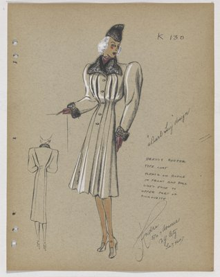 Coat with Pleated Bodice and Fur Collar and Cuff, with Purple Gloves