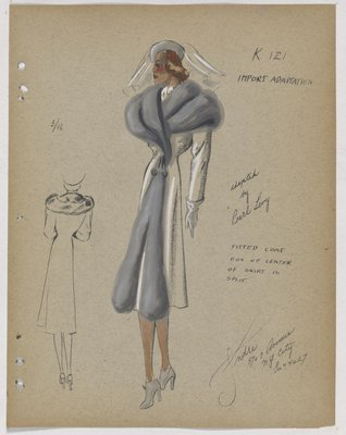 Coat with Grey Fur Collar That Extends down Front and Spits at Skirt