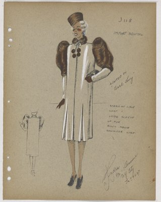 Coat with Brown Fur on Upper Sleeve, Collar and Pom Poms
