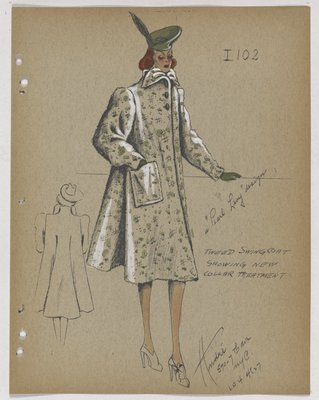 Coat with Green Highlights, with Three Green Buttons at Top