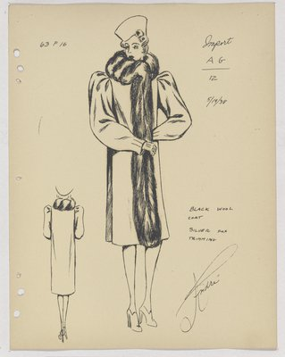 Mainbocher Coat with Fur Collar and Fur down Front