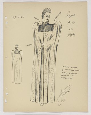 Schiaparelli Evening Cloak with Velvet Collar and Yoke, Trimmed with Embroidery