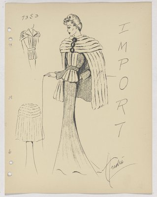 Fur Cape with Three Buttons, over Dress with Fur at Top