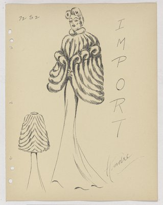 Fur Cape with Swirls over Dress with Train