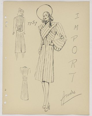 Coat with Diagonals Panels Crossed at Top, with Tassel over Shoulder