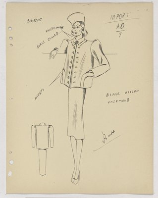 Schiaparelli Suit with Layered Pockets and Buttons down Front