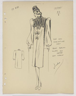 Mainbocher Coat with Fur Collar and Vestee, with Bows down Front
