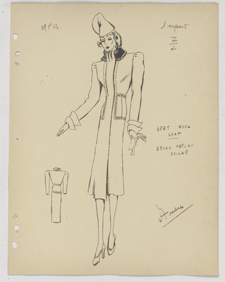 Maggy Rouff Coat with Layered Cuff and Fur Collar