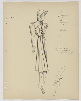 Schiaparelli Coat with Scalloped Velvet Trim down Front