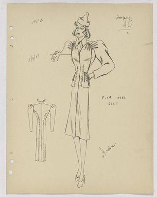 Schiaparelli Coat with Topstitching at Armhole and Pockets