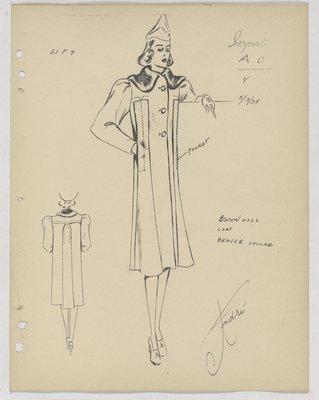 Schiaparelli Coat with Vertical Pockets along Seam and Fur Collar