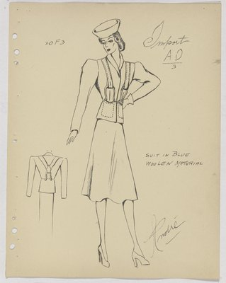 Schiaparelli Suit with Suspenders and Horseshoe-Shaped Clasps