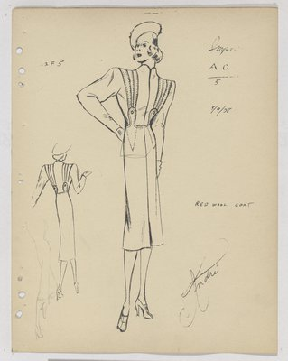 Schiaparelli Coat with Three Topstitched Panels over Shoulder