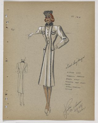 Coat with Fur Bands down Front and Lining Pockets