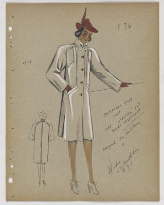 Coat with Four Slit Pockets and Dark Pink Buttons, Hat and Gloves