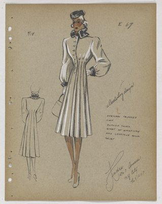 Coat with Full Skirt and Tucks at Waist, with Fur Collar and Cuffs