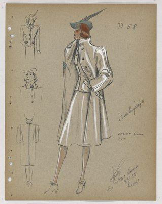 Three-Piece Suit with Flap Pockets and Green Hat and Gloves
