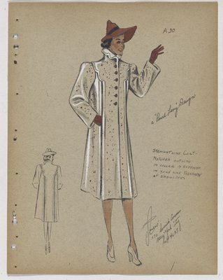 Coat with Notched Collar and Yoke, with Purple Buttons, Hat and Gloves