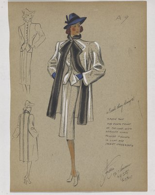 Three-Piece Suit with Black Fur down Front and Blue Hat and Gloves
