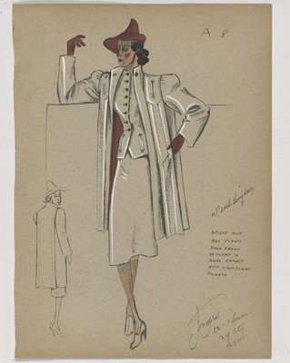 Three-Piece Suit with Welt Pockets and Maroon Buttons, Hat and Gloves