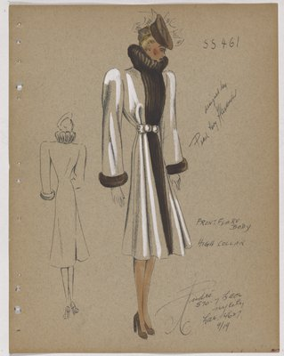 Coat with Front Flare and Brown Fur Collar, Cuff and Fur down Front