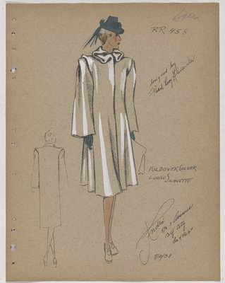 Coat with Folds at Collar and over Shoulder, with Teal Hat and Gloves