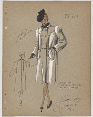 Double-Breasted Coat with Circular Pockets and Black Collar