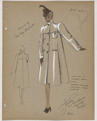 Coat Flared from Yoke with Brown Buttons and Accessories