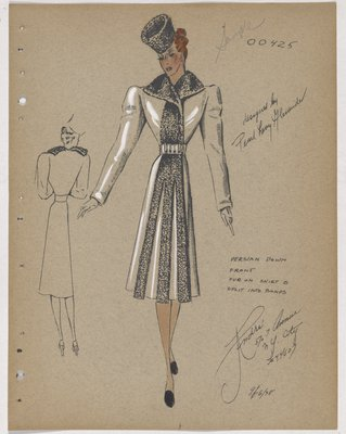 Coat with Fur at Collar and down Front, with Bands at Skirt