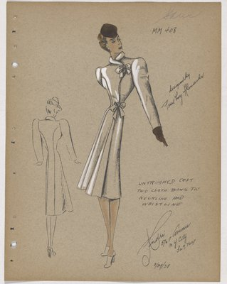 Coat with Bow at Top and Waist, with Brown Hat and Glove