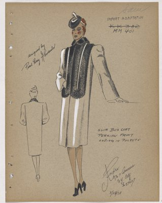 Coat with Fur Bands in Front Ending in Pockets