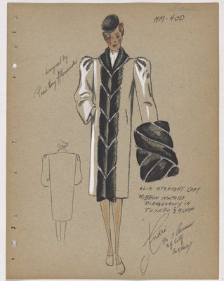Coat with Fur Panel with Ribbon Inserts down Front and on Muff