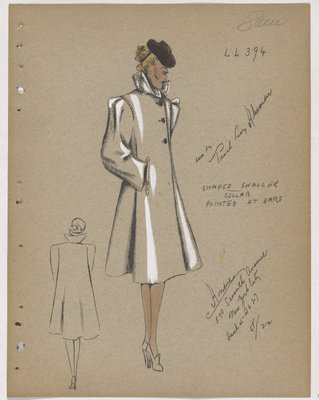 Coat with Pointed Collar, Slit Pockets and Brown Buttons and Hat