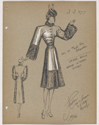 Coat with Fur along Sleeve and Skirt, with Large Fur Cuffs and Border