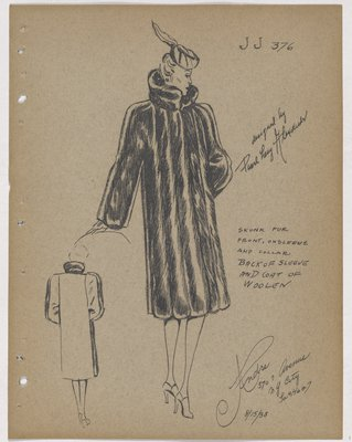 Coat with Fur on Front, Front of Sleeve and Collar