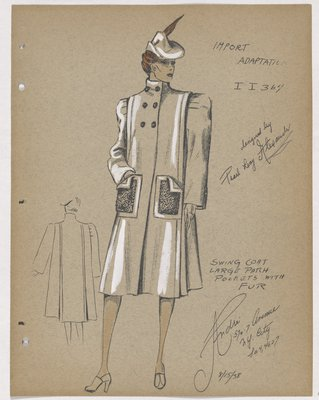Coat with Double-Breasted Buttons at Neck, with Fur Patch Pockets