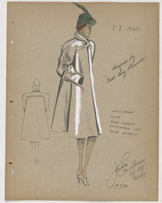 Coat with Full Back and Large Cuffs, with Green Hat and Gloves