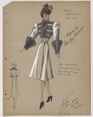 Coat with Military Placement of Fur on Bodice and Large Fur Cuffs