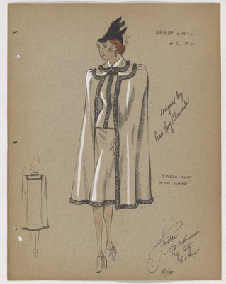 Three-Piece Suit with Fur-Trimmed Cape and Black Hat