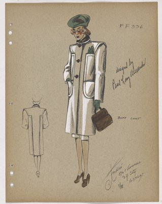 Coat with Patch Pockets, Brown Buttons and Collar, and Green Hat