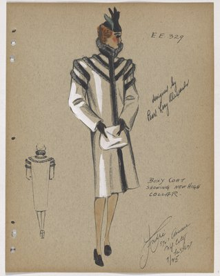 Coat with Fur Collar and Strips Across Shoulders and Upper Sleeve