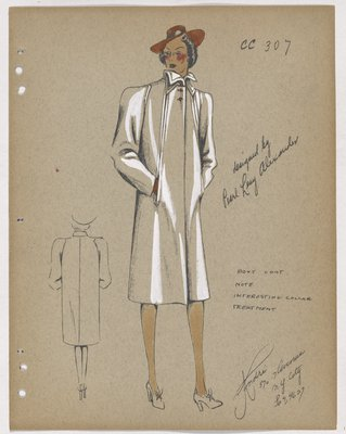 Boxy Coat with Pointed Collar and Orange Hat and Gloves